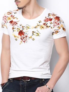 Ericdress Classic Flower Print Slim Men's T-Shirt