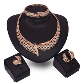 Ericdress Around Hollow Out Golden Jewelry Set