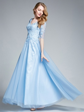 Ericdress A-Line V-Neck Half Sleeves Appliques Beading Prom Dress