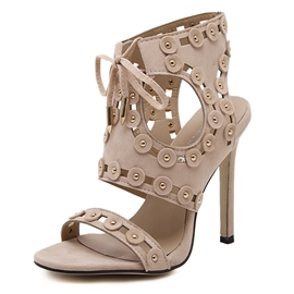 Ericdress Open Toe Lace-Up Rivets Decorated Stiletto Sandals