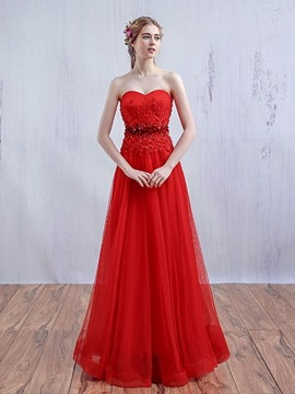 Ericdress A-Line Sweetheart Appliques Beaded Long Prom Dress