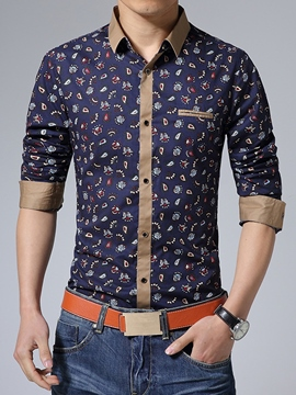 Ericdress Print Long Sleeve Vogue Style Men's Shirt