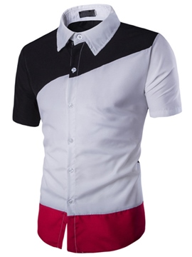 Ericdress Color Block Short Sleeve Classic Slim Men's Shirt