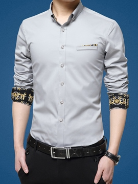 Ericdress Print Long Sleeve Slim Men's Shirt