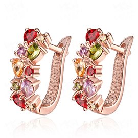 Ericdress Rose Gold Zircon Inlay Women's Stud