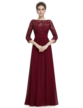 Ericdress Vintage Bateau Neck 3/4 Length Sleeves Lace Evening Dress