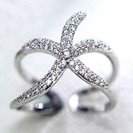 Ericdress Unique Starfish Zircon Ring for Women