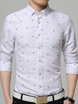 Ericdress Vogue Print Slim Fit Elegant Men's Shirt