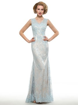 Ericdress Fancy V Neck Appliques Sheath Lace Mother Of The Bride Dress