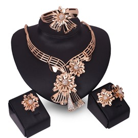 Ericdress Exaggerated Golden Flower Design Jewelry Set