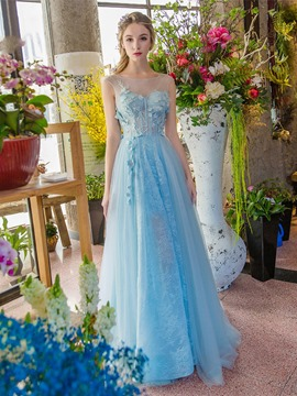 Ericdress A-Line Bateau Appliques Beading Lace Sweep Train Prom Dress
