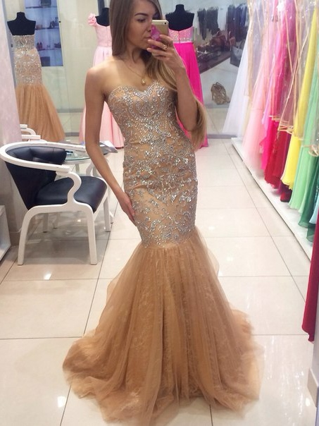 Ericdress Mermaid Sweetheart Beading Crystal Brush Train Evening Dress 2019