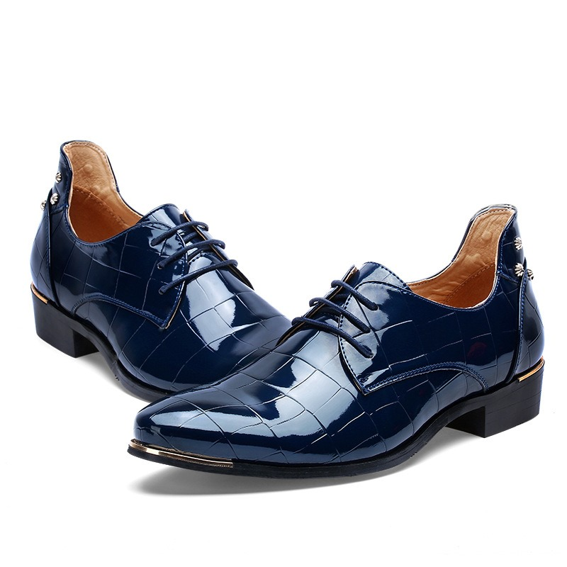 Ericdress New Patent Leather Point Toe Lace up Men's Oxfords