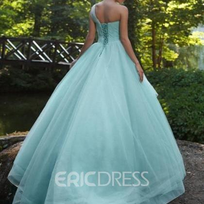 Ericdress One Shoulder Beading Pleats Prom Dress
