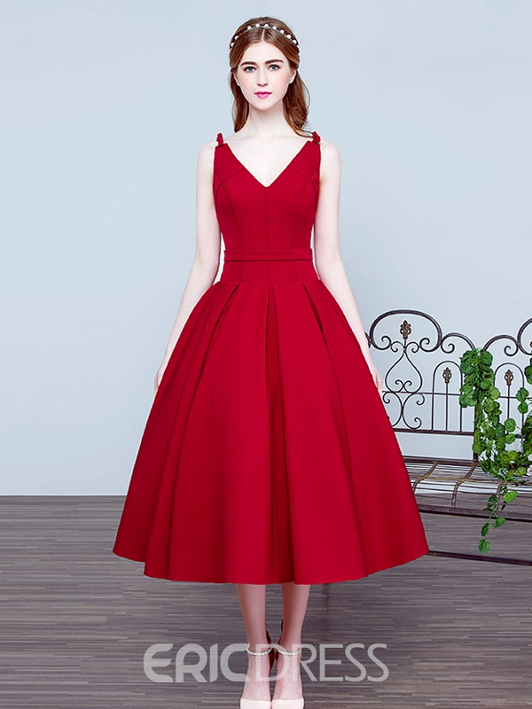 v neck tea length dress