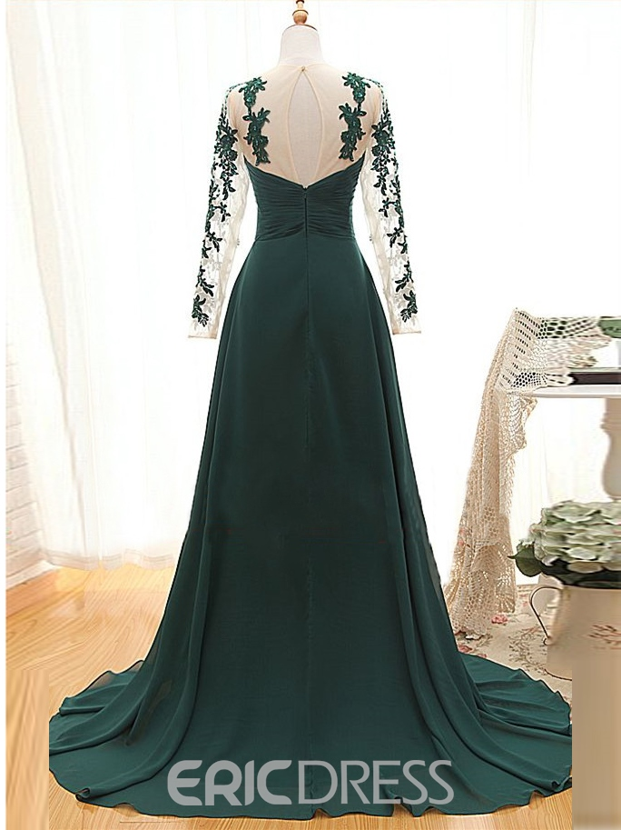 Ericdress A-Line Sweetheart Appliques Court Train Evening Dress With Long Sleeves