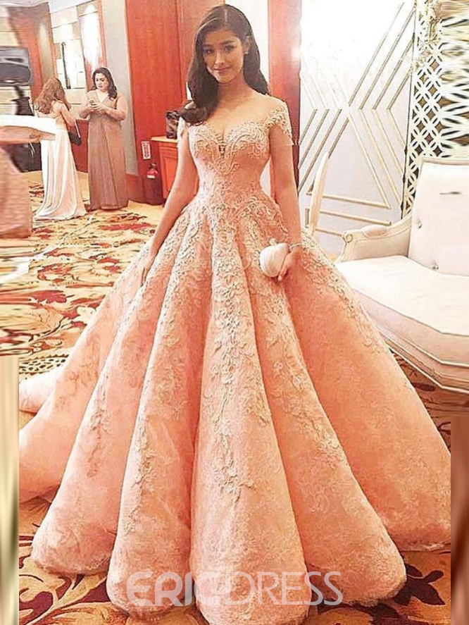 Ericdress A-Line Sweetheart Appliques Lace Chapel Train Prom Dress