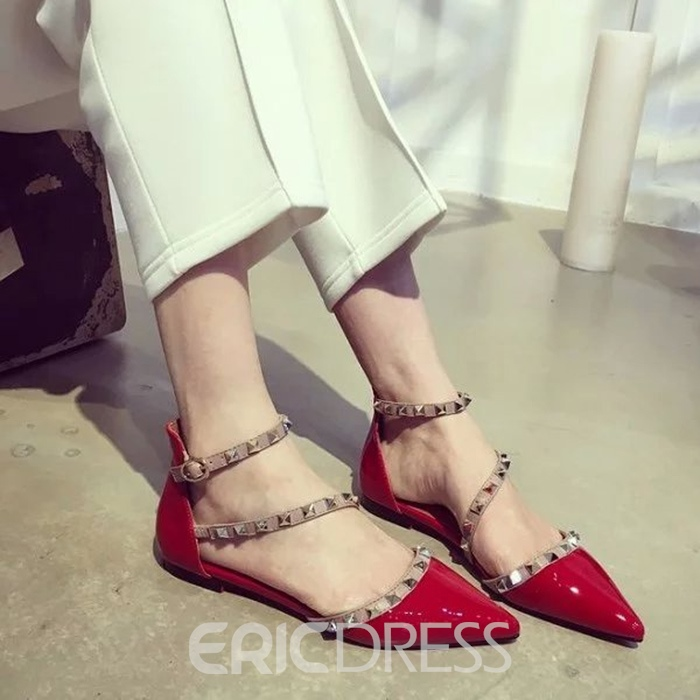 Ericdress Rivets Point Toe Flat Sandals