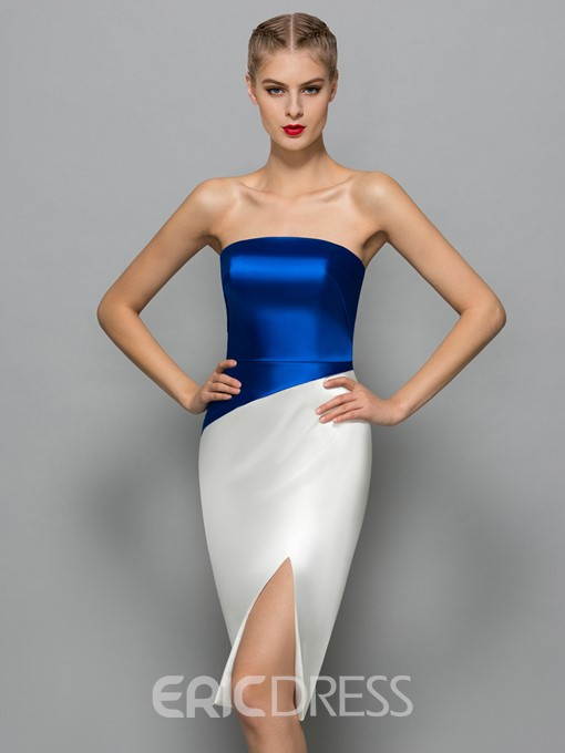Ericdress Strapless Split-Front Sheath Cocktail Dress