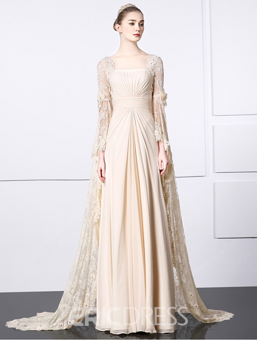 Ericdress A-Line Long Sleeves Lace Evening Dress With Appliques And Beading