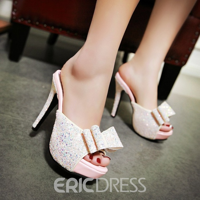 Ericdress Bowknots Sequins Mules Shoes