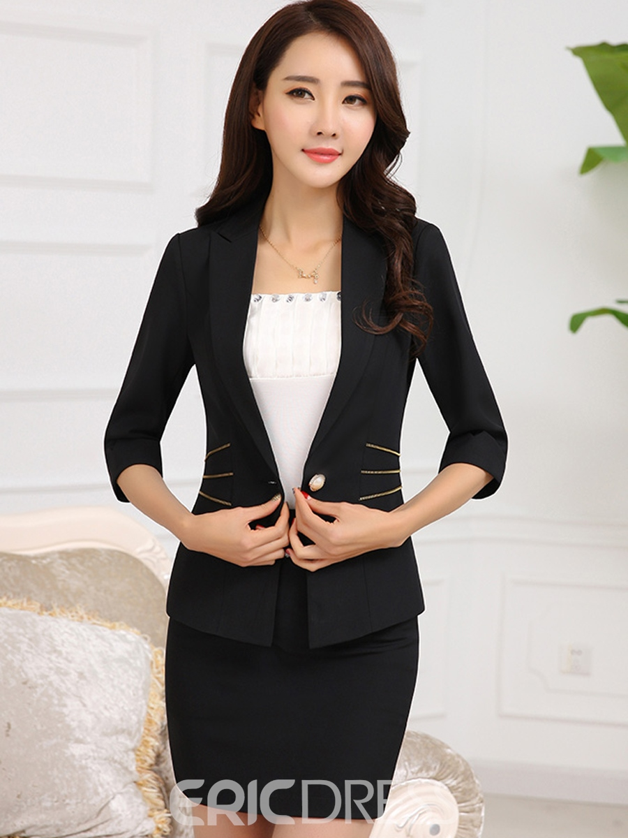 Ericdress Solid Color Notched Lapel Blazer