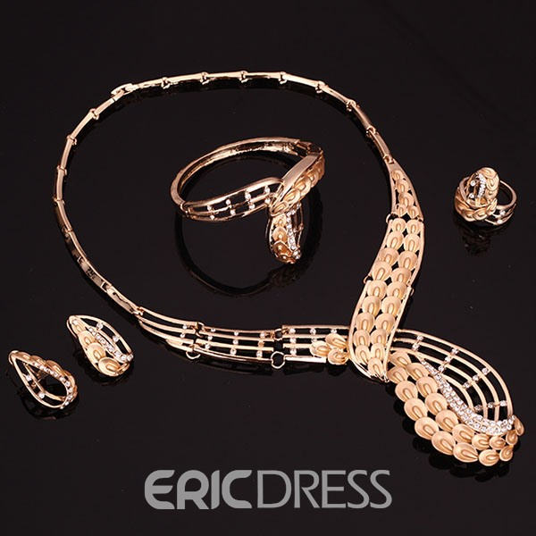 Ericdress Golden Peacock Four-Piece Jewelry Set