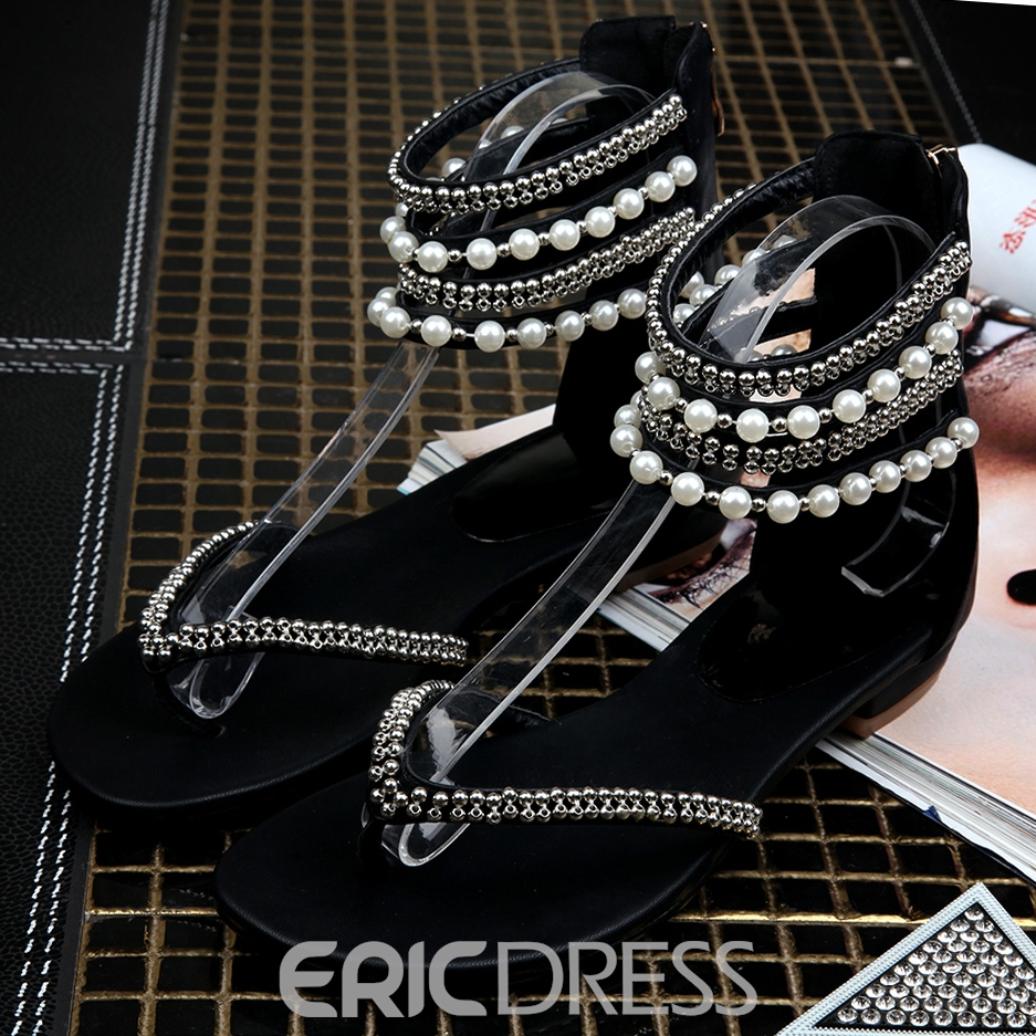 Fashion Beads Decoration Clip-toe Flat Sandals