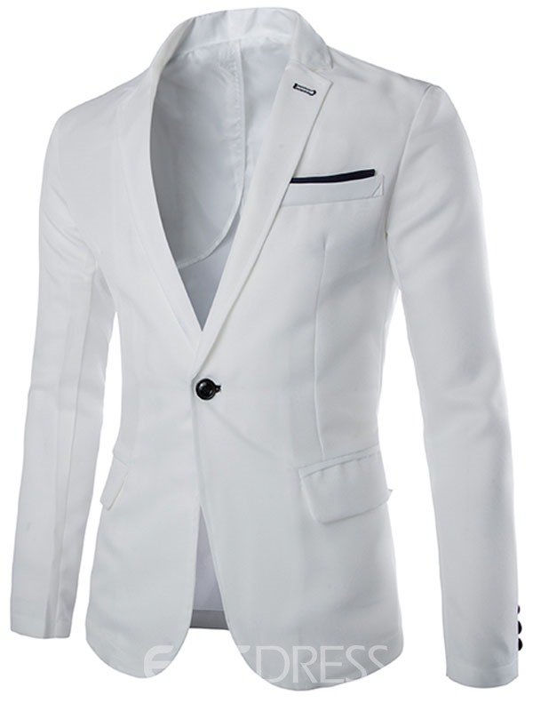 Ericdress Notched Lapel Solid Color Vogue Men's Blazer