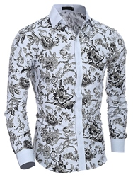 Ericdress Lapel Classic Print Long Sleeve Slim Mens Shirt