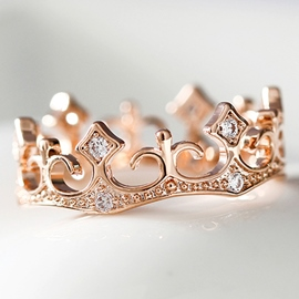 Ericdress Noble Crystal Crown Ring