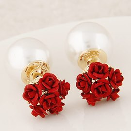 Ericdress OL Rose Pearl Stud Earrings