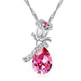 Ericdress Diamante Rose Crystal Necklace