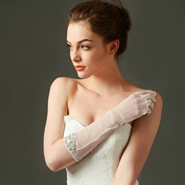Ericdress Beautiful Beaded Long Wedding Gloves