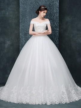 Ericdress Off-The-Shoulder Beading Floor-Length Ball Gown Garden/Outdoor Wedding Dress