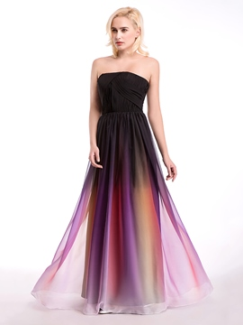 Ericdress Beautiful Strapless Printcloth Long Bridesmaid Dress