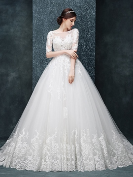 Ericdress Charming Illusion Neckline Ball Gown Wedding Dress With Sleeves