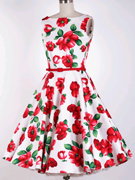Ericdress Flower Print Round Neck Sleeveless Vintage A Line Dress