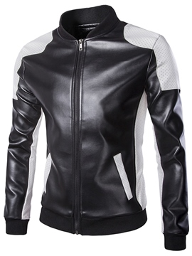 Ericdress Color Block PU Zip Style Men 's Jacket