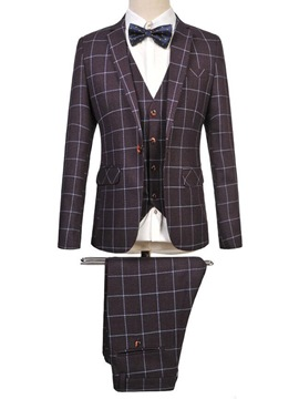 Ericdress Plus Size Grid Elegant Three-Piece of Men's Suit