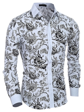 Ericdress Lapel Classic Print Long Sleeve Slim Men's Shirt