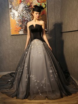 Ericdress A-Line Strapless Draped Embroidery Court Train Evening Dress