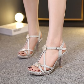 Ericdress OL Appliques Rhinestone Stiletto Sandals