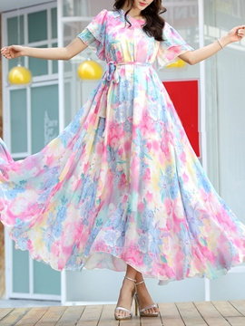 Ericdress Print Expansion Short Sleeve Maxi Dress