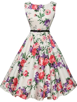 Ericdress Flower Print Round Neck Sleeveless A Line Dress