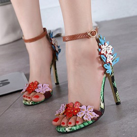 Ericdress Snakeskin Printed Applique Stiletto Sandals
