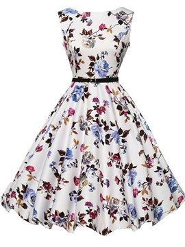 Ericdress Flower Print Sleeveless Vintage A Line Dress