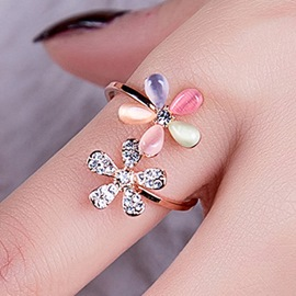 Ericdress Opal Flowers Diamante Women Ring