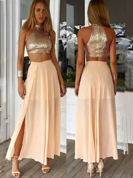 Ericdress halter zweiteiliges split-front prom dress