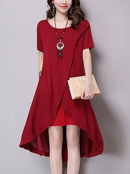 Ericdress Loose Plain Asymmetric Short Sleeve Casual Dress
